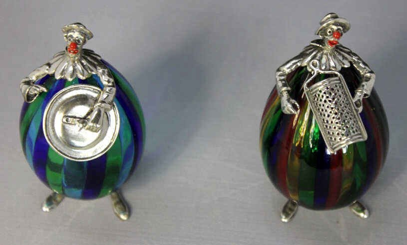 Two Venetian Glass and Silver Clown Figures