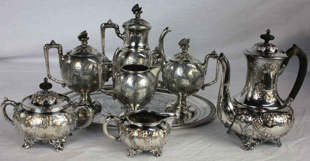 Antique Victorian Figural Silver Plate Tea Sets