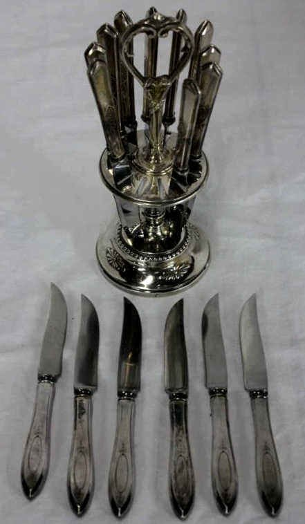 Vintage Silver Plate Knife Stand w/ Set of Knives