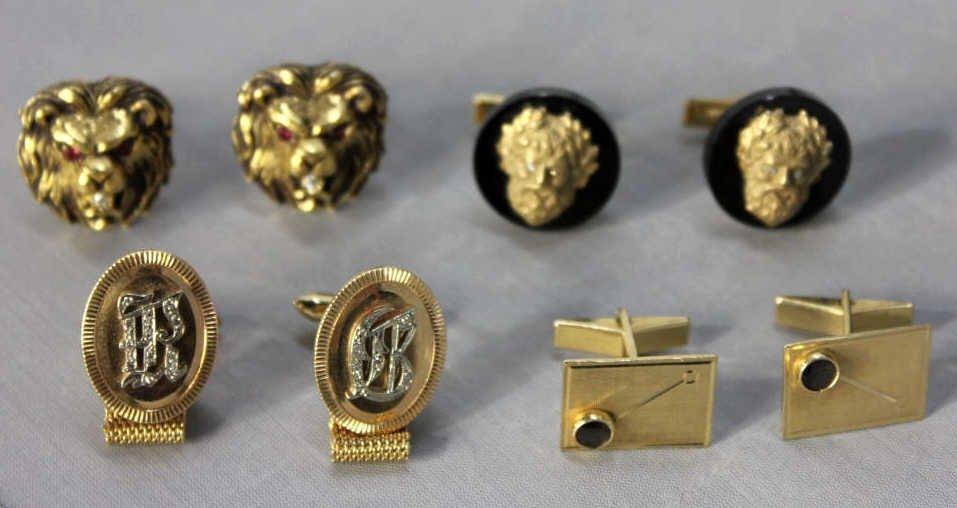 Four Pairs 14kt Gold Cufflinks