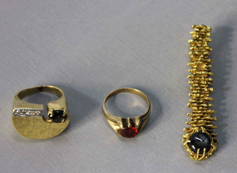 Two 14kt Gold Rings and Tie Pin