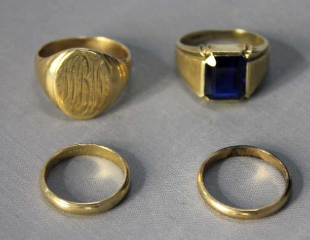 Three 14kt Gold Rings and 10kt Gold Band