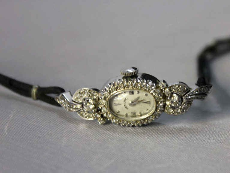 Hamilton 14kt White Gold & Diamond Writstwatch