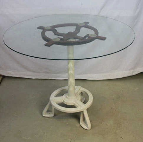 Industrial Metal Table Base with Glass Top