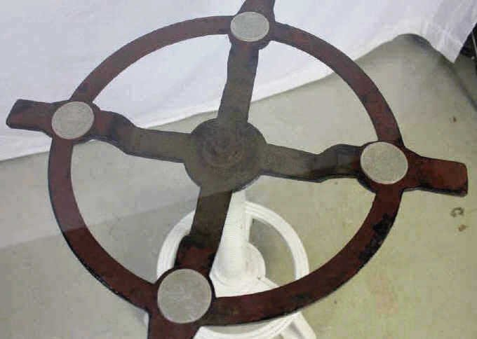 Industrial Metal Table Base with Glass Top - 3