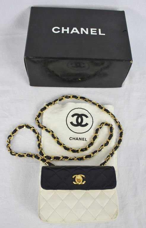 cdb0e7bab9f0 Vintage Small Navy   White Chanel Bag