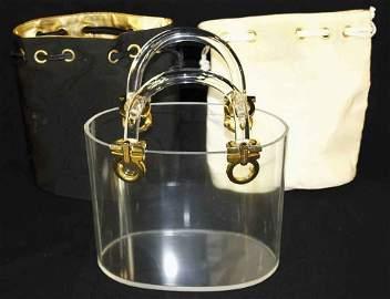 Salvatore Ferragamo Rare Vintage Lucite Handbag