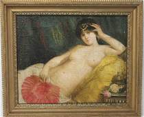Oil on Board Reclining Nude with Fan Unsigned