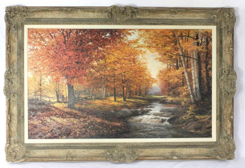 Autumnal Stream Scene Signed Robert Wood 1959