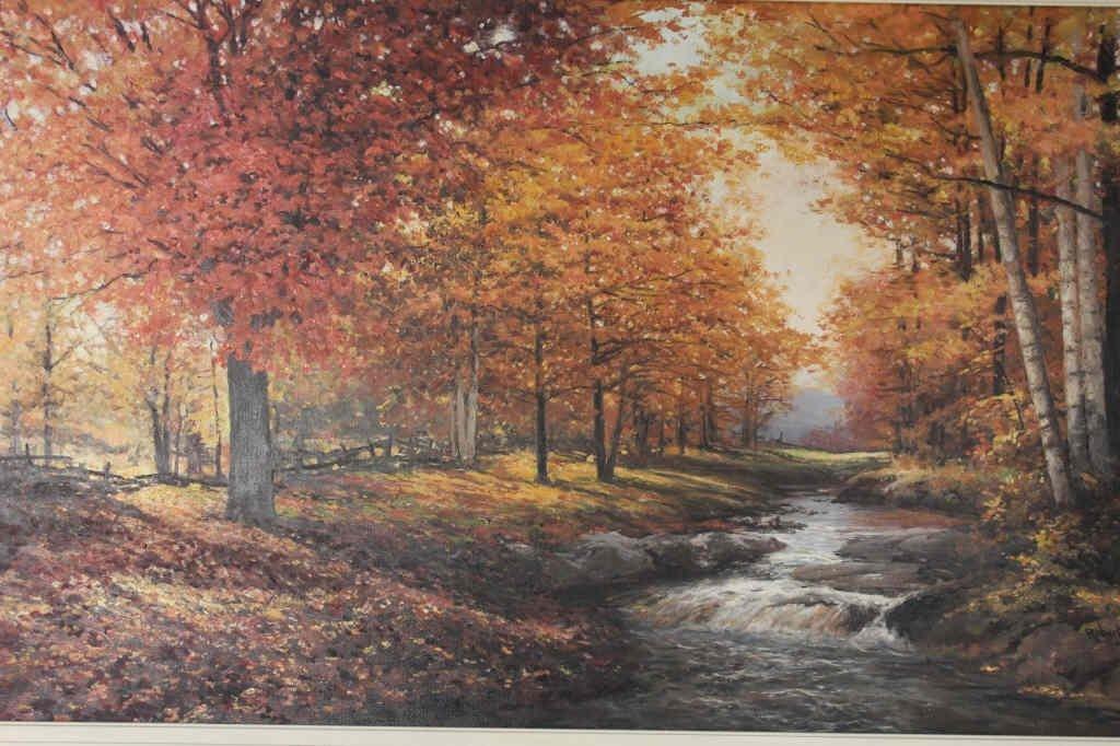 Autumnal Stream Scene Signed Robert Wood 1959 - 2