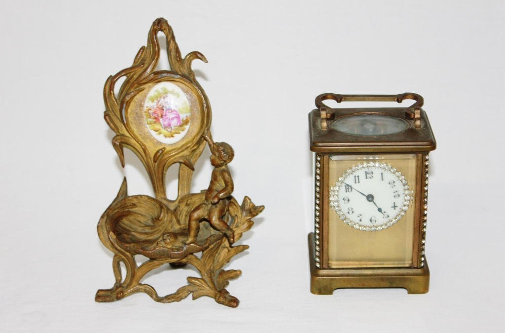 Bronze Clock and Stand with Porcelain Plaque