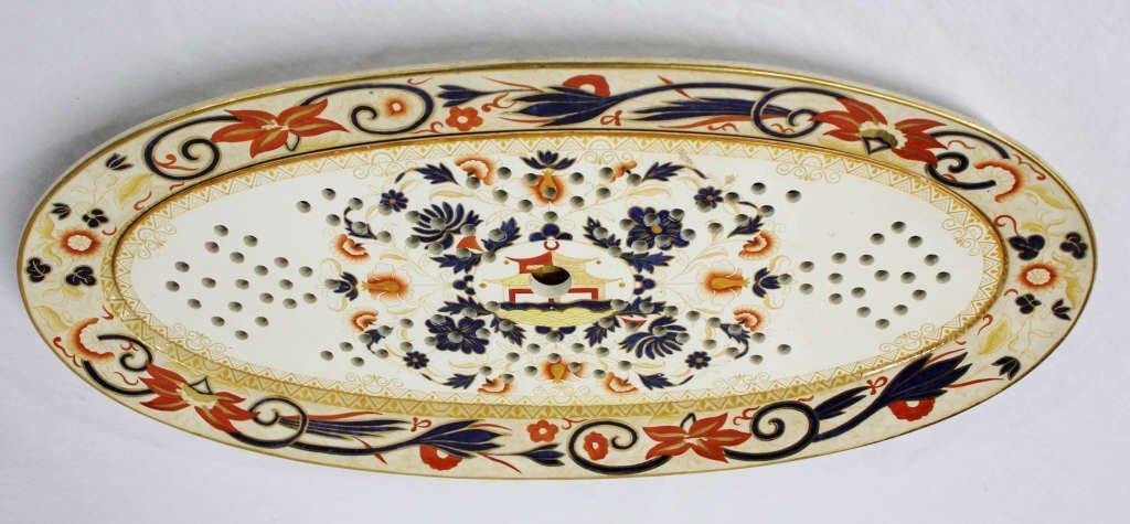 Two Piece Porcelain Chinese Platter and Drain