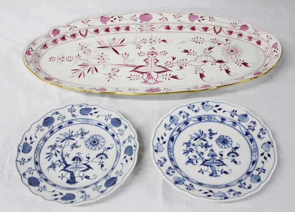 Two Meissen Plates and One Large Platter