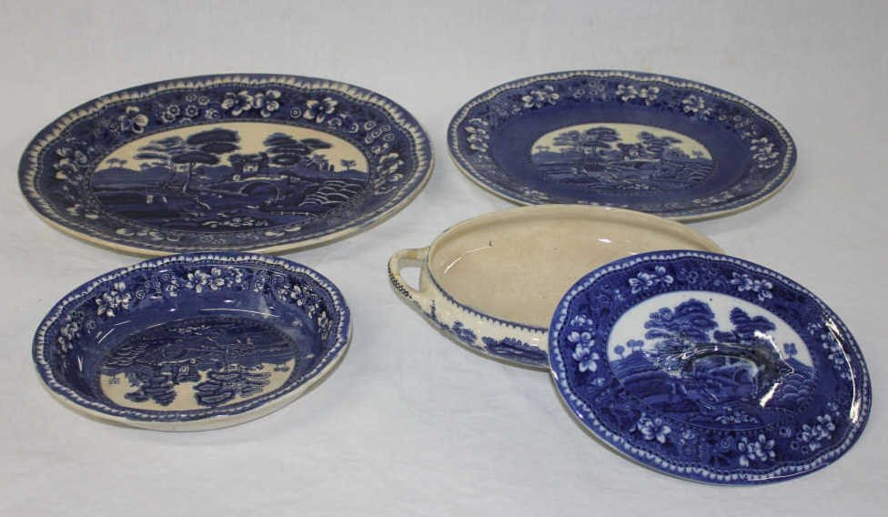 Four Blue and White Staffordshire Serving Dishes