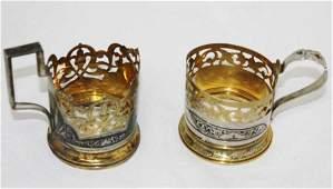 Two Russian Silver Niello Tea Glass Holders