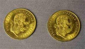Pair Austrian Gold Coins Dated 1915