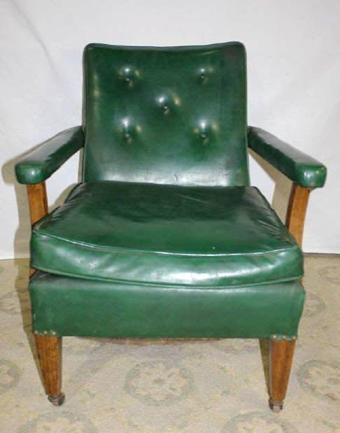 Green Vinyl Armchair on Wheels