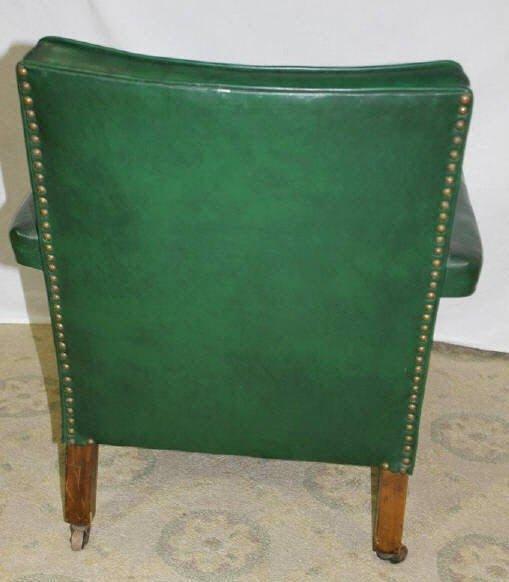 Green Vinyl Armchair on Wheels - 6