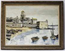 Oil on Canvas Boat Scene Signed Levier