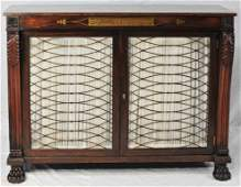 Regency Style Rosewood Cabinet w Brass Inlay