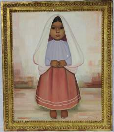 Gustavo Montoya Painting of a Young Girl