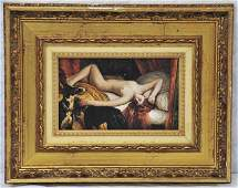 Oil on Board Reclining Nude with Dogs