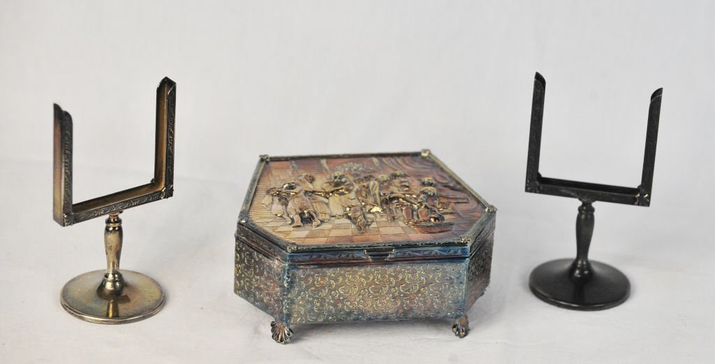 Silver Plate Music Box and Two Place Holders
