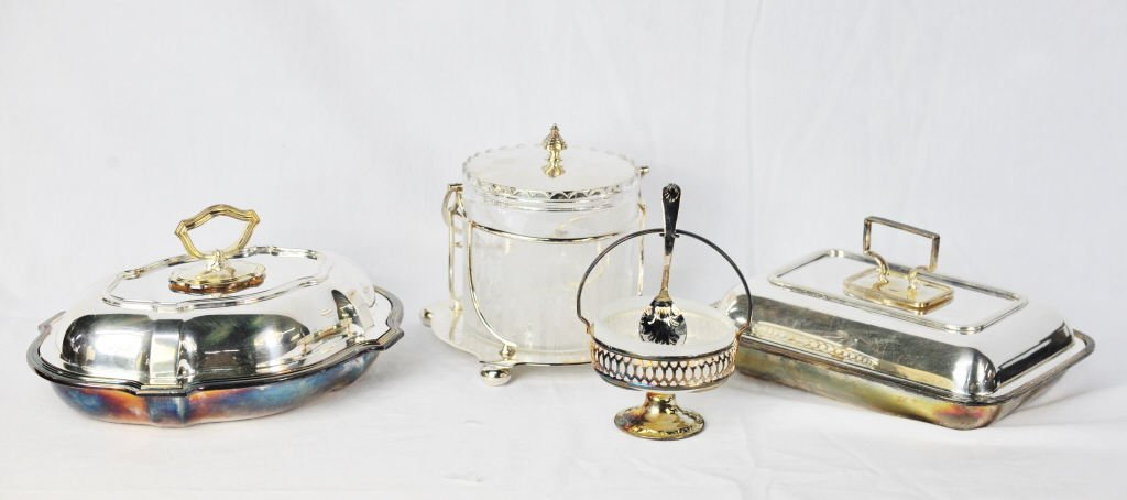 Two Silver Plate Serving Dishes, Bucket, and Bowl
