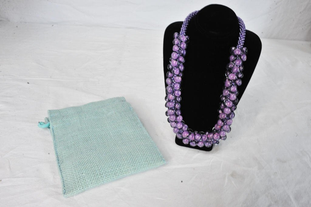 One Handmade Rwandan Purple Bead Necklace