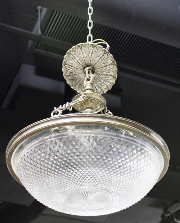 Silvered Bronze Cut Glass 6 Light Chandelier