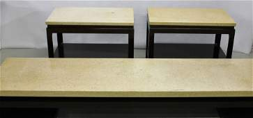 Paul Frankl low coffee table w/cork top, 2 end tables