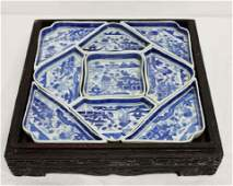 Canton Condiment set in Carved Wood Box