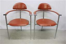 Pair of 'Arrben' Red Leather Chairs