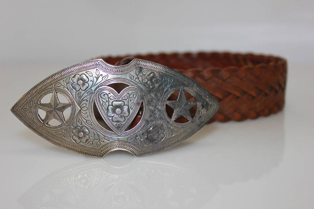 Hand Made Mexican with Sterling Silver Belt Buckle