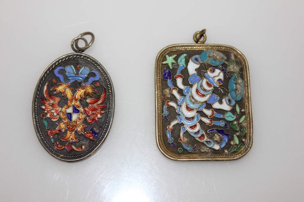 Two Antique Russian Enamel Pendants