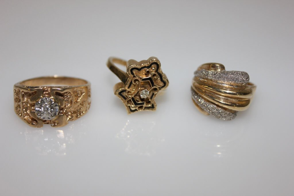 Three 14K Yellow Gold Gentleman Rings w/ Diamond