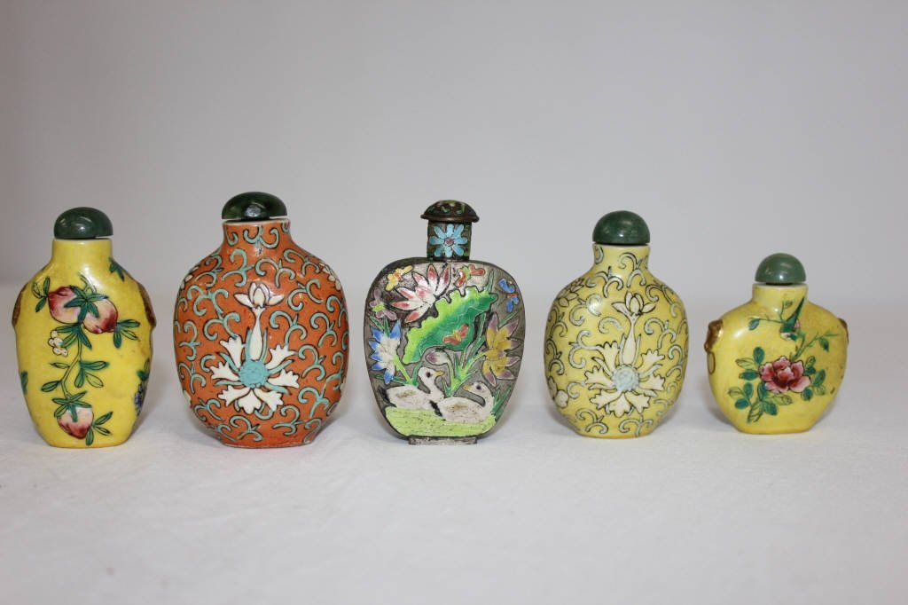 Five Chinese Antique Cloisonne Snuff Bottles