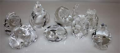 Eight Steuben Crystal Paperweights, Animals.