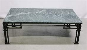 Wrought Iron and Marble Contemporary Coffee Table