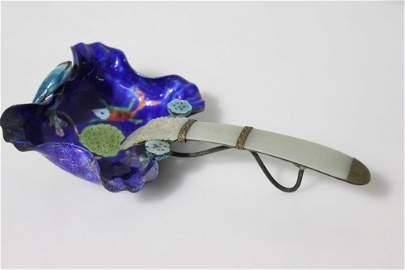Royal Blue Porcelain & Brass Ladle w Jade Handle