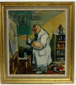 Oil on Canvas, Artist at Easel Signed Benjamin Kopman