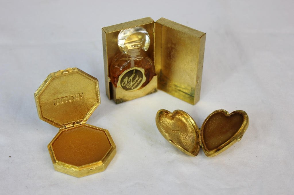 Solid Perfume Compacts & Perfume Miniature w Case