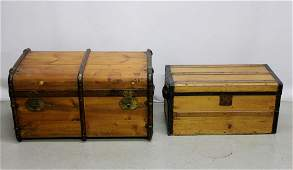 Two Antique Wooden Trunks w Metal Hardware