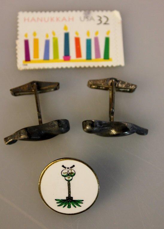 Pair of Cuff Links, Tie Pin, Hanukah Stamp, Stocks