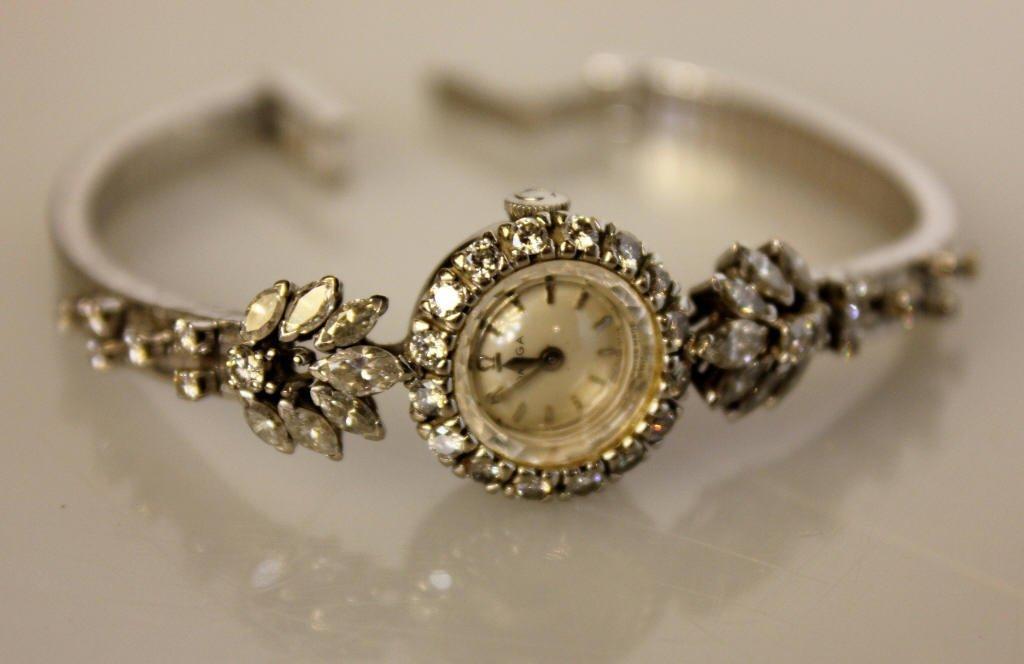 Omega Vintage Ladies Diamond Watch 18K White Gold