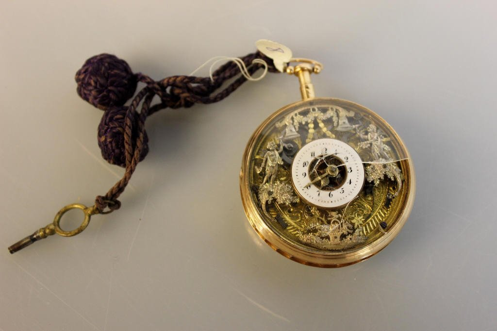 18K Gold Antique Pocket Watch w Exposed Movement