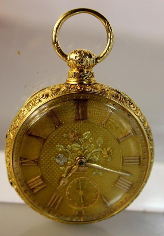 18K Gold Antique Pocket Watch Floral Motif