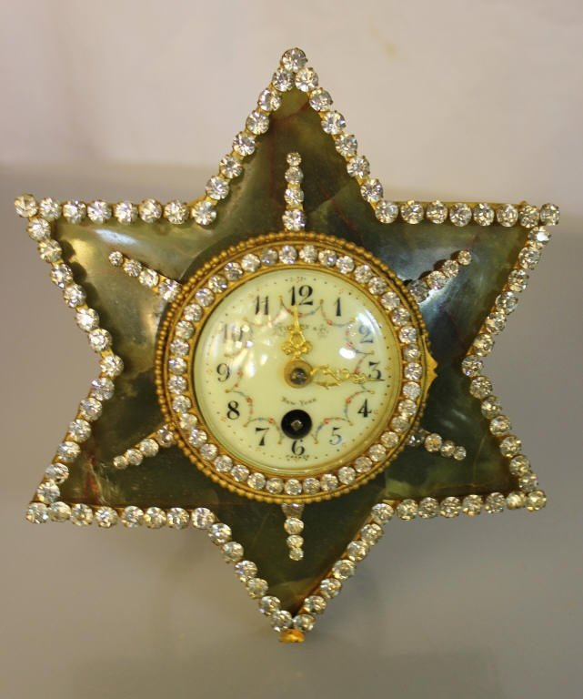 Tiffany & Co. Agate and Brass Star-Shaped Clock