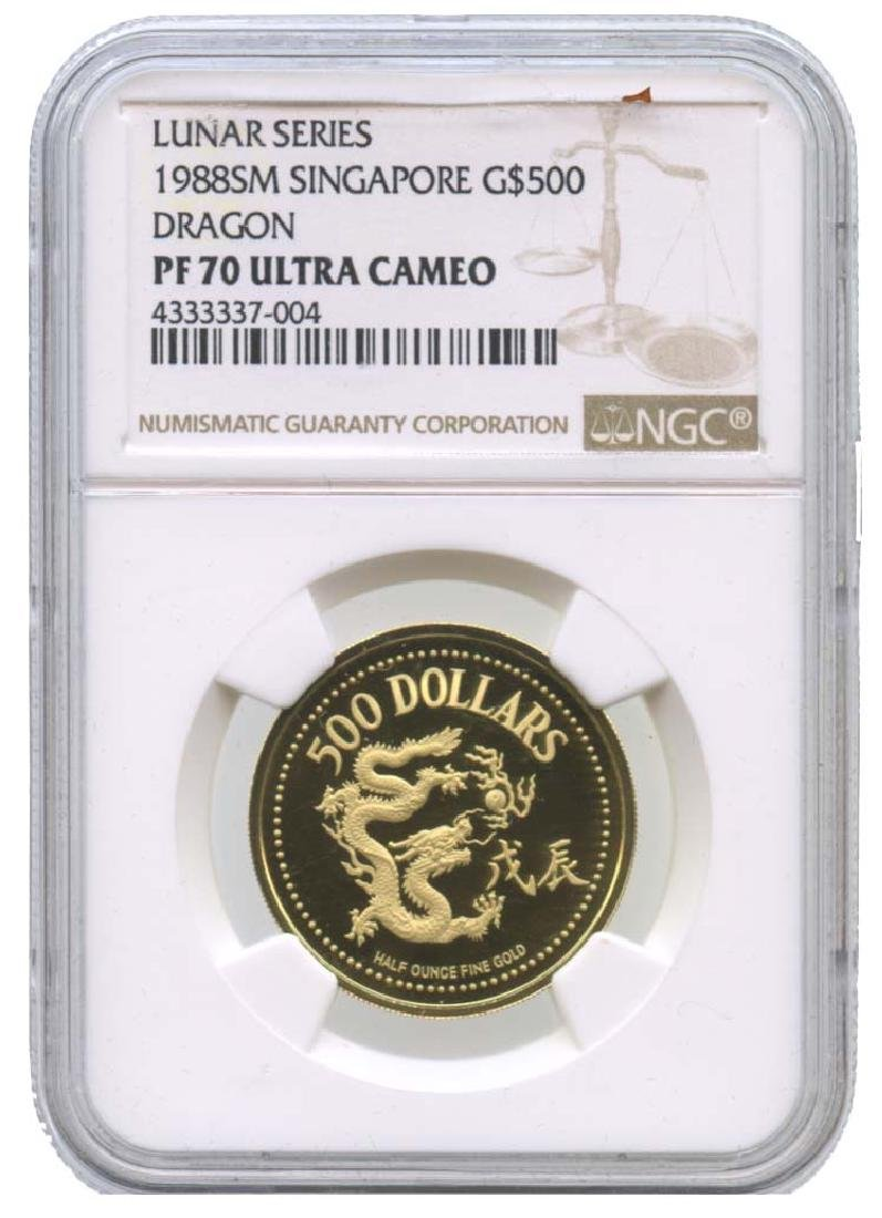 SINGAPORE : Gold $500 Year of Dragon 1988