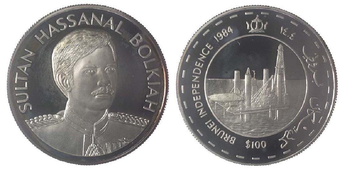 BRUNEI Silver: Proof $100 1984 Brunei Independence
